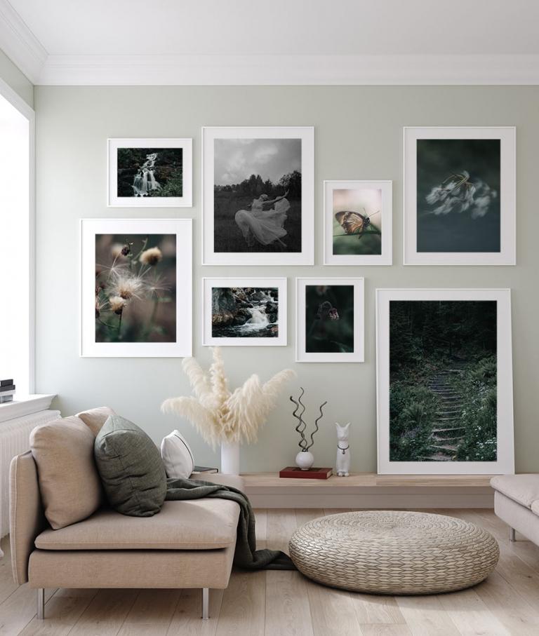 Fotovägg med 8 fine art prints